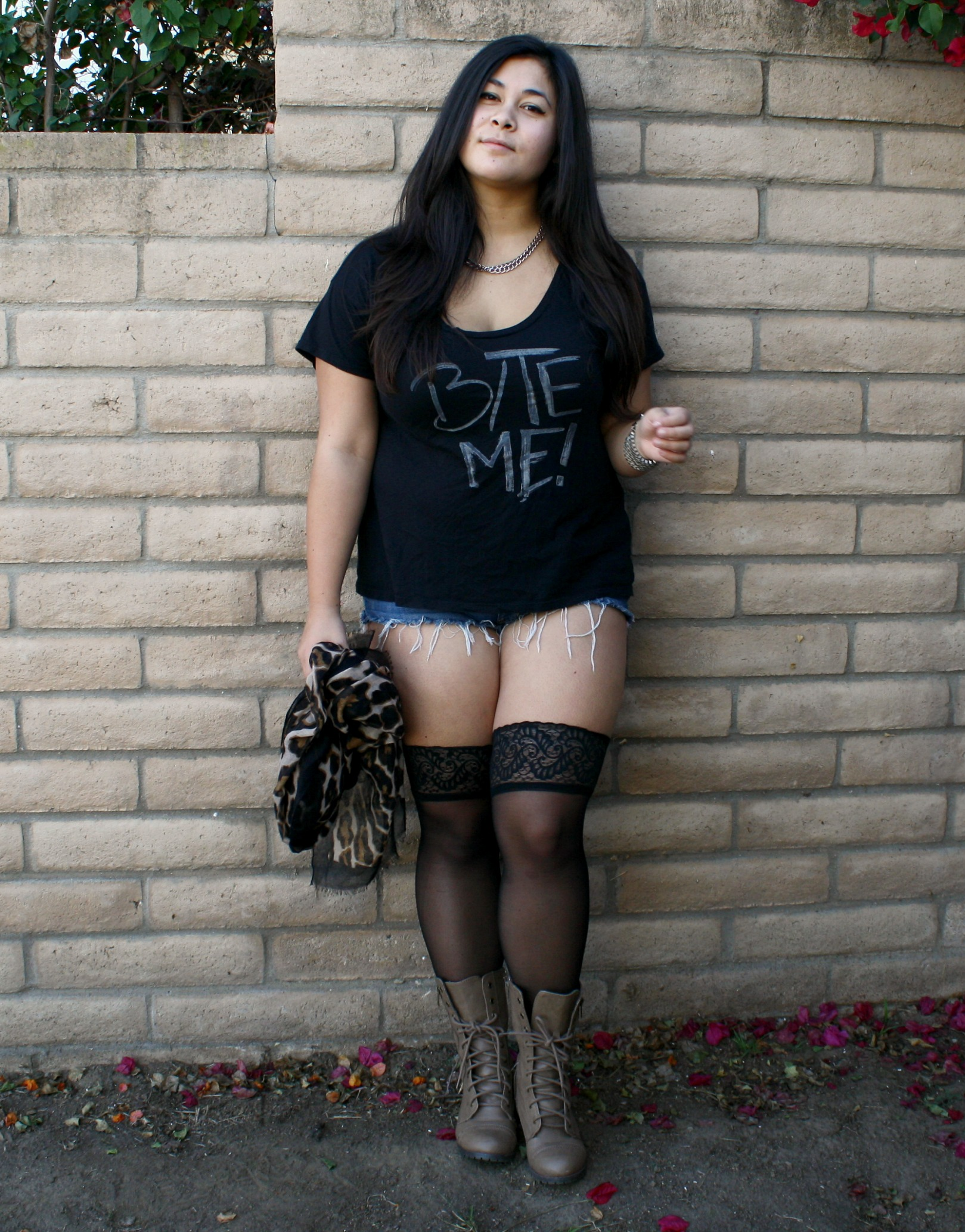 Graphic Quot Bite Me Quot Tee Amp Thigh High Stockings Ootd
