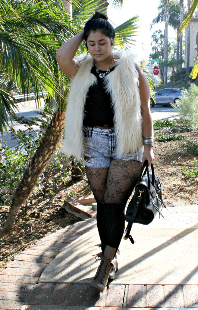 fur lace tights and combat boots ootd  biancakarina
