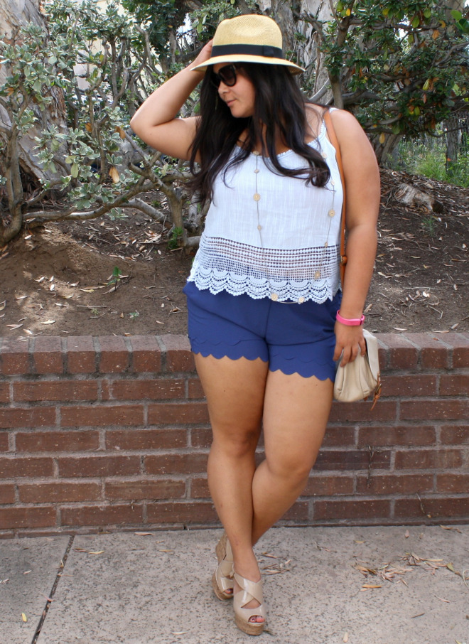 Summer blues in crop top u0026 scallop shorts; OOTD - biancakarina